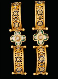 Lot 139, pair of gold, lapis lazuli, glass and pearl bracelets, Byzantine, circa 5th-7th Century A.D., 2 5/16 inches diameter.      via Stonefinder