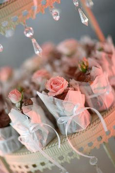 Pretty Idea ..Mini wrapped Sweets with a Pretty Flower