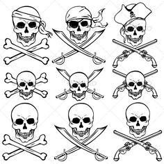 GraphicRiver Pirate Skull and Crossbones 20332710 GraphicRiver Skull and Crossbones Pirate Cartoon 20776831 GraphicRiver Skull Crossbones 671765 Grap Tatoo Pirate, Pirate Skull Tattoos, Pirate Art, Bone Tattoos, Symbol Tattoos, Body Art Tattoos, Sleeve Tattoos, Flame Tattoos, Pirate Symbols
