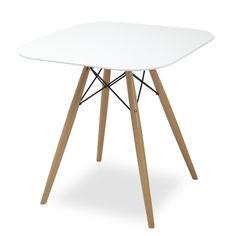 MDF-Tisch. MDF-Platte und Buchenholzbeingestell. MDF-Tisch, um Ihrem Heim oder Büro einen Touch an Design und Raum zu verleihen. Ein essenzielles Einrichtungselement, das sich mit Ihren Stühlen im Tower-Stil kombinieren lässt. Praktisches Design mit weißer MDF-Tischplatte und Gestell aus Buchenholzbeinen und Stahlhalterungen.