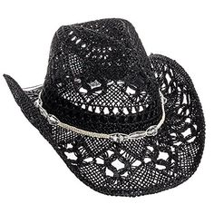 """Dorfman Pacific Womens Straw Western Cowgirl Hat w/ Glass Beads  Classic cowboy hat with an chic & trendy feminine twist  Shapeable brim for the perfect personalized style  Glass beads trim the crown of the hat giving just the right amount of glitz and glam  Interior moisture wicking sweatband  One size fits most; 8"""" x 7"""" interior diam, 3.25"""" brim"""