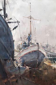 Watercolor Water, Watercolor Landscape Paintings, Watercolor Artists, Watercolor Techniques, Watercolour Art, Urban Painting, Boat Painting, Nautical Painting, Boat Art