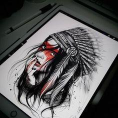 Desenho de índia em preto e branco com detalhes em colorido.  #desenho #drawing #art #arte #pretoebranco #colorido #india