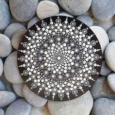 Monochrome Mandala Dot Artwork on Wood Mandala Art, Mandala Canvas, Mandala Painting, Mandala Pattern, Mandala Design, Mandala Painted Rocks, Mandala Rocks, Dot Art Painting, Stone Painting