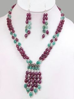 Oval Bead Designer Necklace | Exclusive Designer Cabochon Oval Ruby & Emerald Beads Necklace