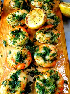 cedar planked shrimp with parsley pesto.