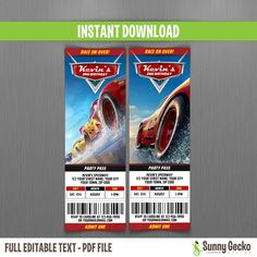 Disney Cars 3 Birthday Ticket Invitations - Instant Download and Edit with Adobe Reader - Cars 3 Birthday Party - Lightning McQueen by SunnyGeckoDesign on Etsy