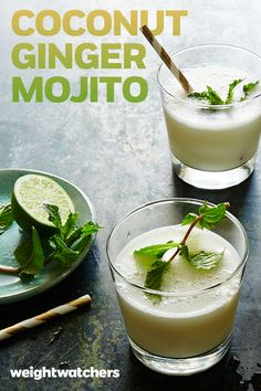 Frothy and fun. That's this Coconut Ginger Mojito! Count. Us. In.