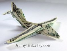 Dollar Origami  Jet Fighter B52 Stratofortress by BeanyTink, $9.00