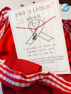 RED RIBBON week kid or adult friendship bracelet for October gift - proceeds go to CHARITY