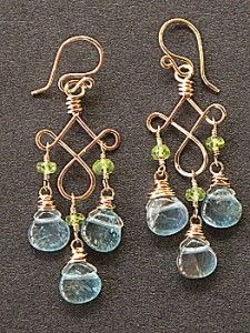 """Peridot and apatite on hammered curled wire,   about 1-3/4"""" long.     Available in 14k gold filled & sterling silver"""