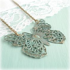 Butterfly Necklace Simple Antiqued Brass Filigree by TheLocketBox, $17.00