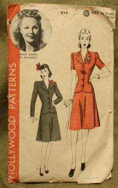 Hollywood Patterns 815 Vintage 1940s Jacket by EleanorMeriwether, $12.00