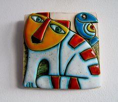 Handmade Ceramic Art TileWall ArtHome Decor Cat