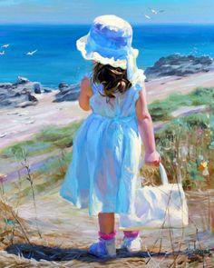 Niñas en el mar pintadas al óleo sobre lienzo   El club del arte, pinturas