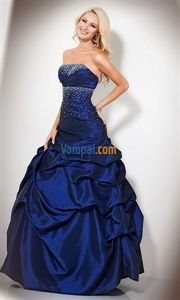 Taffeta Floor Length Beaded Empire Strapless Royal Blue Ball Gown Dress   $152.00