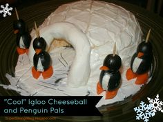 Igloo Cheese Ball and Penguin Pals - cute and easy appetizer! (perfect idea for our Christmas or New Years party!)