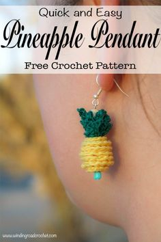 Crochet a quick and easy Crochet Pineapple Pendant or two and wear them on a necklace, bracelet, earrings or even as a zipper pull. This free crochet pattern takes very little time to accomplish with just a few basic jewelry and crochet supplies. Basic Crochet Stitches, Crochet Basics, Crochet For Beginners, Beginners French, Beginner Crochet, Crochet Jewelry Patterns, Crochet Accessories, Crochet Jewellery, Crochet Gifts