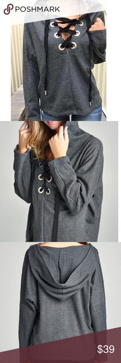 NWT Lace Up Grommet Hoodie Hoody Sweatshirt Top 65% POLYESTER 35% COTTON Description LONG DOLMAN SLEEVE LACE-UP FRENCH TERRY PULLOVER HOODIE TOP. Charcoal. Tops Sweatshirts & Hoodies