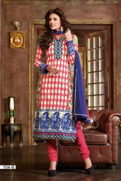 Gorgeous and Beautiful Straight cut salwar kameez where Top is made from Cotton, Cotton fabric bottom and Chiffon dupatta 104-B