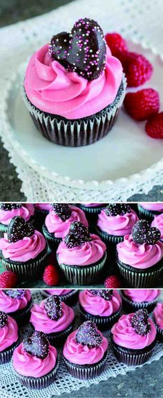 RASPBERRY CHOCOLATE CUPCAKES - chip, chocolate, cupcakes, dessert, milk, raspberry, recipes
