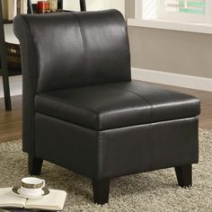 Dark brown finish leather like vinyl armless storage accent side chair with lift top seat