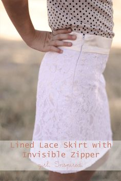 Lined Lace Skirt with an Invisible Zipper – Skirt Week! I totally wanna make this! Diy Clothing, Sewing Clothes, Clothing Patterns, Zipper Tutorial, Skirt Tutorial, Diy Tutorial, Sewing Hacks, Sewing Tutorials, Sewing Diy