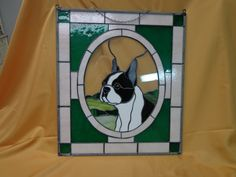 Framed Pet Portrait on Stained Glass Boston Terrier   eBay Vitrail, Chiens,  Papillon, 74b0318b0a1f