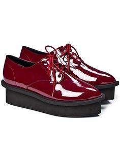 FLARE pick: Cheap Monday dark red lace up flatform oxfords,$143