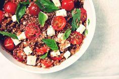 Warm Farro Salad with Cherry Tomatoes, Basil and Feta