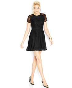 MADE Fashion Week for Impulse Short-Sleeve High-Neck Lace-Inset Dress - Dresses - Women - Macy's $89