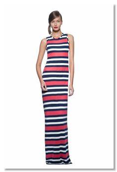 (Summer) Sleeveless Multistripe Patio Dress (Spring) Cognac Peyten Chunky Heel Sandal