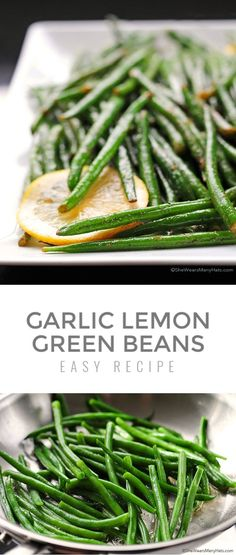 Tasty Garlic Lemon Green Beans are a light and delicious side dish to compliment just about any meal, or make a batch for a healthy and crunchy snack. Bean Recipes, Healthy Recipes, Lemon Green Beans, Healthy Side Dishes, Dinner Ideas, Foodies, Nom Nom, Garlic, Easy Meals