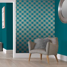 Eternity Tapete Petrol und Kupfer, , large Eternity wallpaper teal and copper,, large Teal Rooms, Teal Living Rooms, Teal Walls, Living Room Decor, Dining Room, Teal And Gold Wallpaper, Copper Wallpaper, Gold Teal Wallpaper, Wallpaper Roll