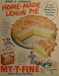 Ad for My-T-Fine 'home-made' Lemon Pie