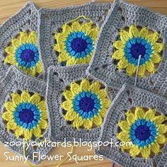 Sunny flower squares make pretty coasters; or join for placemats... Free pattern!