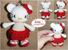 Hello Kitty doll red and white crocheted tiny by raducristina