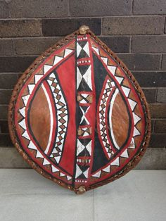 FOR SALE: Vtg Leather Fur Pigment Wood African Tribal Kenya Maasai People? WARRIOR SHIELD