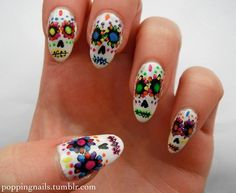 Day of the dead skulls, read more here - Nail Art Nails Nail Polish Barry M Acrylic Paint Day Of The Dead Skulls Mexico Sugar Skulls