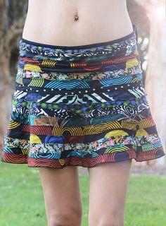 Mini Recycled Skirt Cotton Mini Skirt Handmade by lallidesign