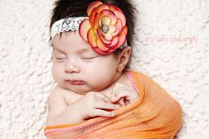 Antique Rose Headband on Antique White Stretchy Lace Headband by Little Keira's Bows