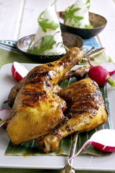 CHICKEN INASAL == Ingredients: 5 medium or 4 large chicken legs (thigh with the drumstick attached) 3 stalks of lemon grass, chopped 4 large cloves of garlic (about 1 1/2 tbsps. chopped) 1 tbsp. coarse sea salt 1 tbsp. grated ginger 1/4 tsp. of freshly ground black pepper 3 tbsps. white wine or cider vinegar juice of 4 calamansi or rind and juice of 1 lime 2 tbsps. light soy sauce 1 tbsp. coarse sea salt 2 tbsps. annato oil (see recipe below) 2 tbsps. melted butter 2 tbsps. honey ====