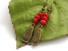 Matryoshka babushka Russian doll charm crystal earrings