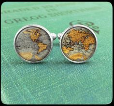 Silver Cufflinks - Vintage World Map - Wearable Art- Handmade by Lisa Owens on Etsy, $14.00