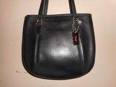 "VINTAGE COACH 11"" x 9"" Black Leather Tote/Shoulder Bag #K6C-9995 W/Hang Tag by COACHCROSSING on Etsy"