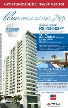 Blue Marine, ótimo investimento à preço de custo no Centro de Guarapari!  Ligue agora e faça sua reserva: 27 3361-0050