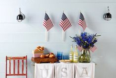 rustic patriotic buffet table with flag decor