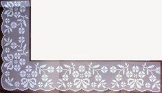 Ponta com canto. Filet Crochet, Crochet Borders, Crochet Stitches, Crochet Curtains, Crochet Doilies, Crochet Lace, Diy And Crafts, Cross Stitch, Knitting