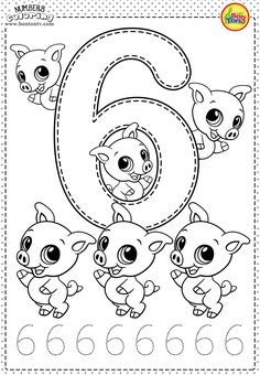 Number 6 - Preschool Printables - Free Worksheets and Coloring Pages for Kids (Learning numbers, counting - Broj 6 - Bojanke za djecu - brojevi, radni listovi BonTon TV numbers preschool brojevi coloringpages worksheets printables Preschool Writing, Numbers Preschool, Learning Numbers, Printable Preschool Worksheets, Kindergarten Worksheets, Free Worksheets, Free Printables, Preschool Learning Activities, Kids Learning