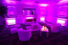 All white after hours lounge - up lighting in the room can be changed to a color of your choice! #Lounge #club #afterhours #wedding #afterparty Villa Barone Hilltop Manor - Book Today (845) 628 - 6600